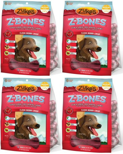 Zukes Z-Bones Edible Dental Chews Regular Cherry Berry 3lb (4x12oz), My Pet Supplies