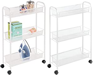 mDesign Portable Rolling Laundry Utility Cart Organizer Trolley with Easy-Glide Wheels and 3 Multipurpose Heavy-Duty Metal Mesh Basket Shelves - Durable Steel Frame - 2 Pack - White