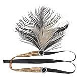 MagiDeal Gatsby Black Beige Feather Diamante Headpiece Headband 1920s Flapper Vintage