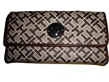 Tommy Hilfiger Women's Continental Checkbook Wallet, Gray Alpaca With Brown, Bags Central