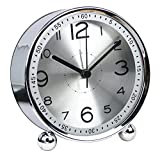 clock table - 4-inch Table Clock Ultra-quiet Metal Small Alarm Clock, Classic Retro Style Quartz Clock, Desk Cupboard Bedside Travel Alarm Clock (CS-AC06)(silver)