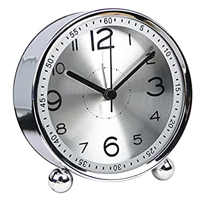 chengsan 4-inch Table Clock Ultra-Quiet Metal Small Alarm Clock, Classic Retro Style Quartz Clock, Desk Cupboard Bedside Travel Alarm Clock - Loud alarm clock size: 4 inches, small size, easy to carry, 1 AA battery(not included) Wake up clock material: metal shell + high-definition glass + metal base; The metal feels very comfortable and will not damage your furniture Easy to operate:Unlike modern digital alarm clocks, this one has only 3 buttons: 2 dials to set clock and alarm and 1 alarm switch to turn on/off alarm - clocks, bedroom-decor, bedroom - 5190qaocsLL. SS400  -