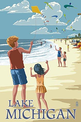 Lake Michigan - Children Flying Kites (24x36 Giclee Gallery Print, Wall Decor Travel Poster) (Children Flying Kites)