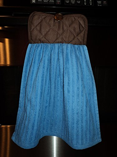 Multipurpose Hanging Blue Kitchen Towel with Attached Brown Potholder