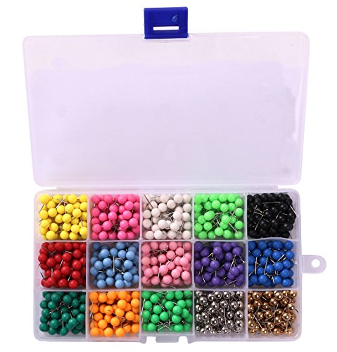 Tupalizy 1/4 Inch Colorful Small Decorative Map Tacks DIY Craft Round Plastic Head Push Pins for Bulletin Board and Home Office Use 15 Assorted Colors Each Color 50PCS 750PCS Mixed Color