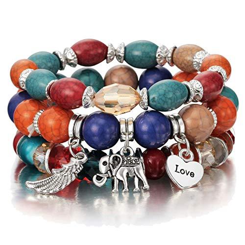 3-4pcs/set Fashion Boho Bracelets & Bangles Women Beaded Bracelet with Colorful Gem Long Wrap Bracelet for Women,sl1033