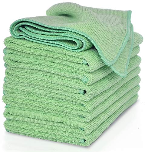 VibraWipe Microfiber Cleaning Cloths - All-Green, 8 Pieces Pack. Highly Absorbent, Lint and Streak Free, Wash Cloth for Kitchen, Car, Window