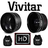 2PC Set HD Wide Angle & 2.2x Telephoto Lens Kit For JVC Everio GZ-HM200 GZ-HD320