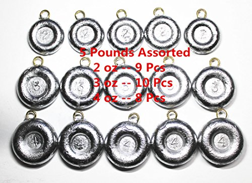 Kathy store INC Disc Fishing Sinkers - assorted weights (5 LB) (5 LB - 2oz \ 3oz \ 4oz)