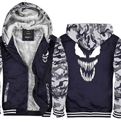 (Jonikow Mens Fleece Thicken Hoodie Costume Plus Velvet Hooded Sweatshirt Jacket(M, 5))