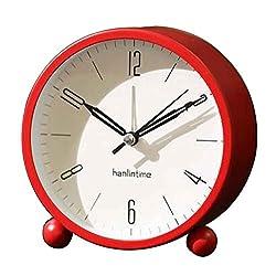 Black Temptation Round Silent Alarm Clock Battery Operated Light Functions [B] #01