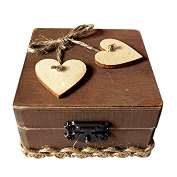 Zehui Wooden Heart-shaped Decorated Wedding Ring Bearer Rustic Ring Holder Jewelry Gift Box Wedding