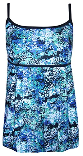 Beach Native Swimdress One Piece Swimsuit 10-16 (16, Blue/Black/Green)