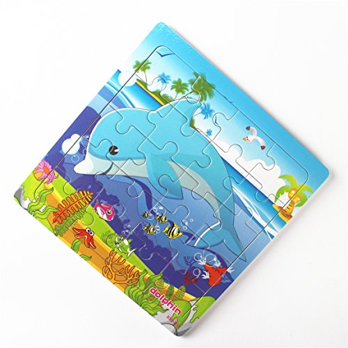 Meshion Wooden Jigsaw Puzzles With Storage Tray Ocean Set Kids Toys Preschool Learning Game For 3-5 Years Old Child,Boys,Girls,Pack Of 6(Mermaid,Octopus,Shark,Starfish,Dolphin,Lobster) by Meshion (Image #7)
