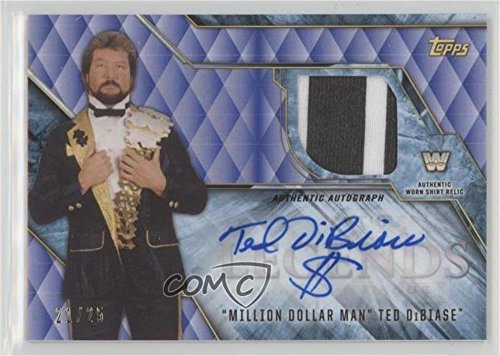 - Ted DiBiase #/25 (Trading Card) 2017 Topps Legends of the WWE - Commemorative Shirt Relic Autographs - Blue #AR-TD