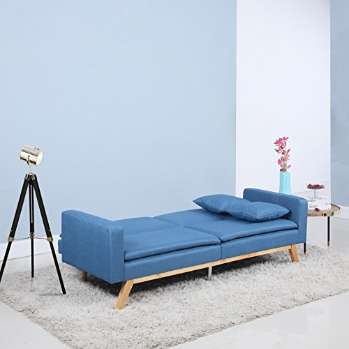 Divano Roma Furniture Modern Tufted Linen Splitback Recliner Sleeper Futon Sofa (Blue)