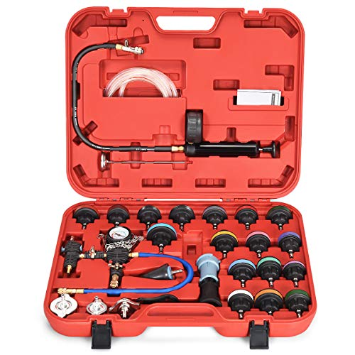 Goplus 28-Piece Universal Radiator Pressure Tester, Vacuum Type Cooling System Tool Kit w/Carrying Case (Red Case)