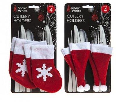 All 4 You 4 Soportes para Cubiertos de Navidad, diseño de Papá Noel, Color