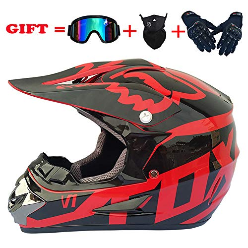 yaning ATV MX Dirt Bike Off-Road Helmet DOT/ECE Approved with Goggle Mask and Gloves (Atv Off Road Helmet)