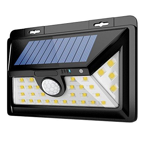 IMAY Solar Lights Outdoor 34 LEDs, Solar Warm Lights, Front Switch Super Bright Solar Wall Lights, Waterproof Motion Sensor Security Lights for Patio, Garden, Garage, Yard, RV(Warm White)