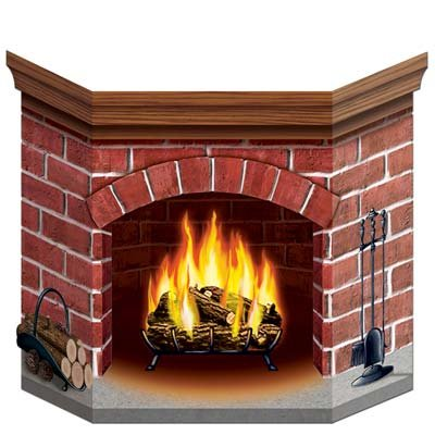 Brick Fireplace Stand-Up Party Accessory (1 count) (1/Pkg) -