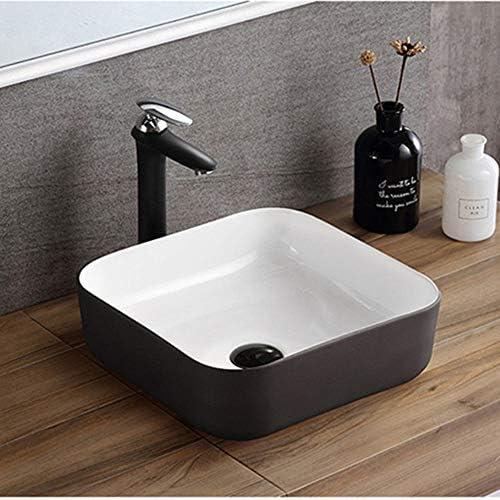 パーソナリティクリエイティブアート洗面台 クラックへの熱抵抗に抵抗するための化粧キャビネットトイレFangyaグアン黒い四角形モダン浴室洗面台 (Color : Black, Size : 39x39x14cm)