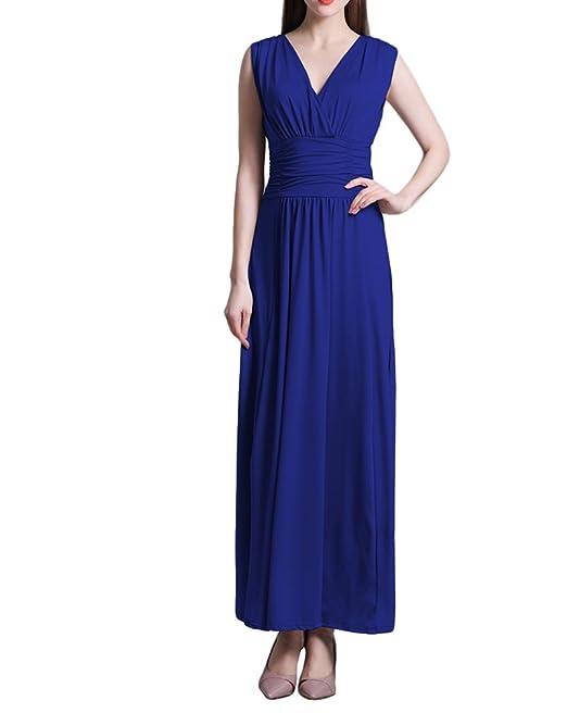 6dc856924ef6 Vestidos Maxi Mujer Elegantes Vestido Verano Sin Mangas V Cuello ...