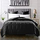 Evolive All Season Pre Washed Soft Microfiber White Goose Down Alternative/Silk Cotton Alternative Comforter/Duvet (Full/Queen, Black)