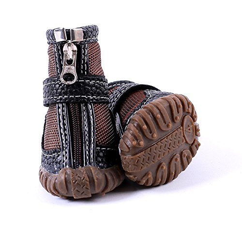 FLAdorepet Waterproof Dog Shoes Pu Leather Pet Dog Cat Rain Shoes Boots Dog Paw Protectors for Small Dog 4Pcs (5, Brown) by FLAdorepet
