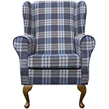 Small Westoe Wingback Armchair in a Kintyre Chambray Tartan Fabric