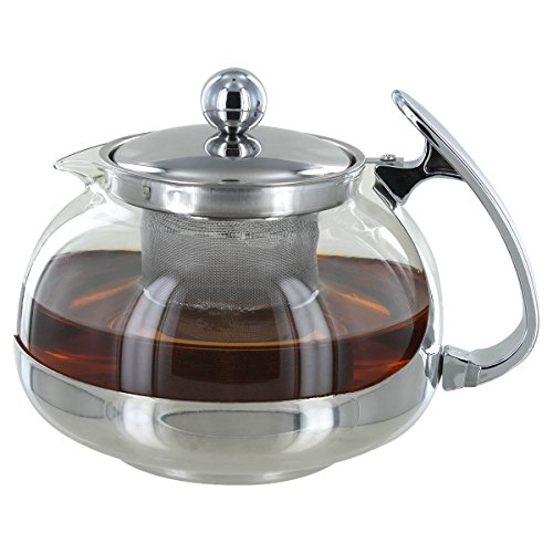 Stainless Steel Heat Resistant Glass 3-Cup Tea & Coffee Pot w/ Rust Free Strainer Infuser Basket, 24 Fluid Ounces (700 ML) by Pride Of India (Teapot Strainer Basket)