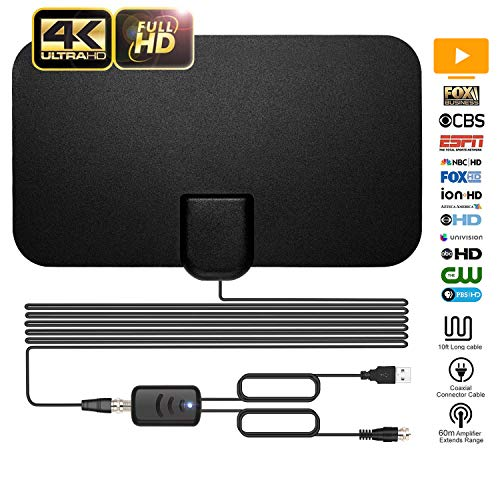 Itv Digital Tv - TV Antenna, ARVEIMI Indoor TV Antenna, Over 60+Miles Long Range Access Digital TV Antenna- Support 4K 1080P HD/VHF/UHF Freeview Channels for All Types of Built-in Tuner Home Smart Television