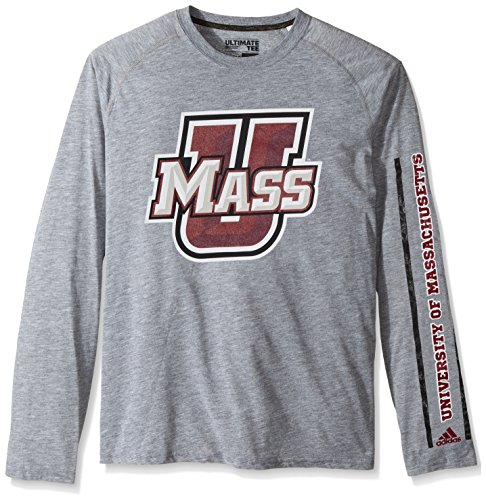 adidas NCAA Massachusetts Minutemen Men's Sleeve Play Ultimate Long Sleeve Tee, Large, Medium Grey ()