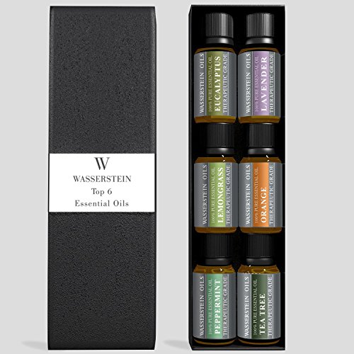 Aromatherapy Top 6 100% Pure Therapeutic Grade Basic Essential Oil Gift Set- 6x10 ML by Wasserstein (Lavender, Tea Tree, Eucalyptus, Lemongrass, Orange, Peppermint)