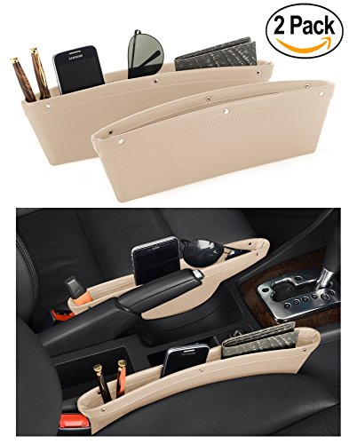 Leather Car Seat Catch Caddy- Gap Filler and Organizer in Between Front Seat and Console - Premium Quality PU Leather Accessory & Storage - Stop Before it Drops (Beige)2 (Top Storage Tank)