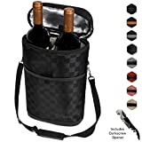 Premium Insulated 2 Bottle Wine Tote | Wine Carrier Bag with Shoulder Strap, Padded Protection, and Corkscrew Opener | Wine Travel Cooler Bag