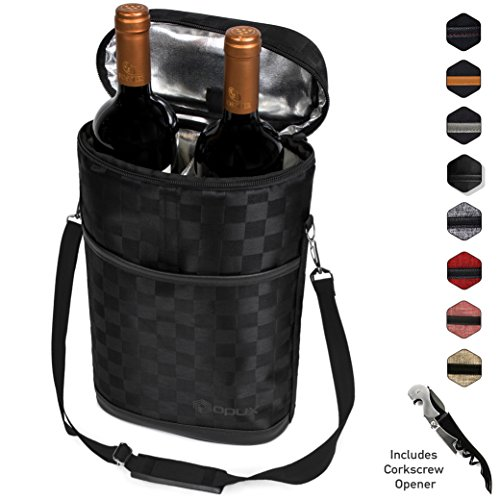 - Premium Insulated 2 Bottle Wine Tote | Wine Carrier Bag with Shoulder Strap, Padded Protection, and Corkscrew Opener | Wine Travel Cooler Bag