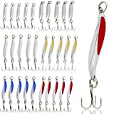 ice fishing spoons - Sougayilang Fishing Spoons Lure, Casting Fishing Lures Blade Baits, Great for Fishing Perch, Crappie, Trout, Bass, Pike, Musky, Walleye, Salmon, Striper and More