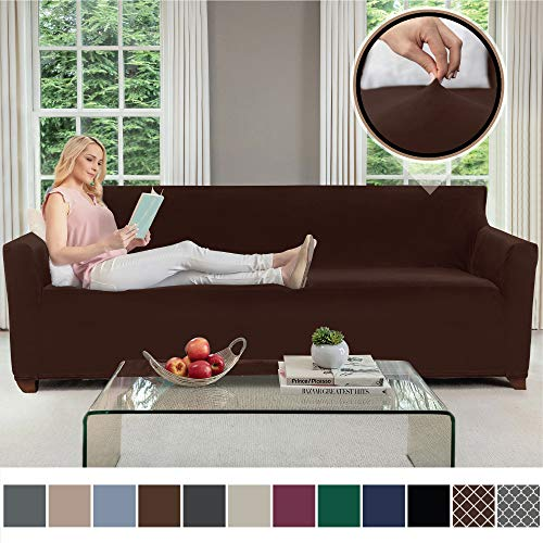 Gorilla Grip Original Velvet Fitted 1 Piece Oversized Sofa Slipcover, Stretch Up to 78 Inches, Velvety Covers, Luxury Couch Slip Cover, Spandex Sofas Furniture Protector, with Fasteners, Chocolate (Chocolate Brown Sofa Leather And Loveseat)