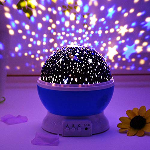 Baby Night Light with Music, Starry Moon Stars Rotating Projector, Children's Romantic Table Lamp Sky Projector Film USB Changeable for Halloween, Christmas, Weddings, Party Gift -