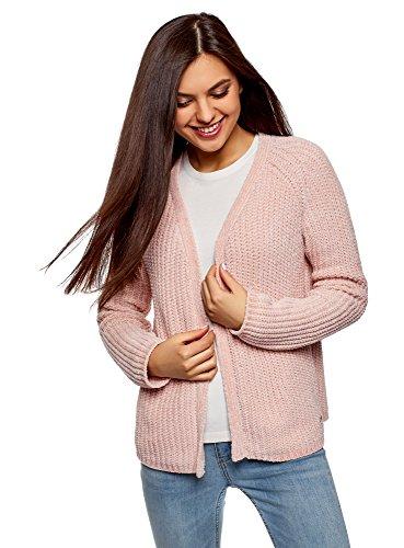 oodji Ultra Women's Textured Knit No Closure Cardigan, Pink, US 8 / EU 42 / L