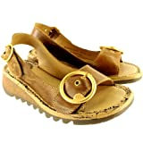 Womens Fly London Tram Low Wedge Summer Vacation Buckle Open Toe Sandals - Tan - 9