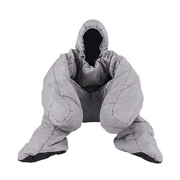 Saco de Dormir para Acampar al Aire Libre Adultos Otoño e Invierno Gruesas piernas humanoides cálidas Saco de Dormir al Aire Libre (Color : Gray): ...