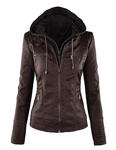 Womens Leather Hats - Showlovein Women Hooded Faux Leather Jacket Hat Detachable Motorcycle Jacket