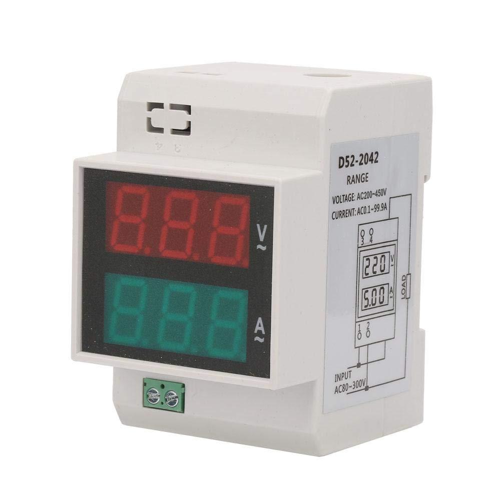 AC Dual LED Din Rail Ammeter Voltmeter Digital Voltage Current Meter (AC80-300/100A)