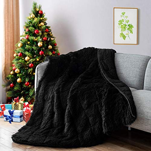 Lofus Faux Fur Weighted Blanket,Snuggly Luxury Shaggy Longfur Heavy Blanket, Warm Elegant Cozy Plush Sherpa Microfiber Furry Blanket for Couch Sofa Chair Home Decor, 60