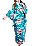 SexyTown Women's Satin Long Kimono Robe Japanese Traditional Costume Night Gown (Blue 2)