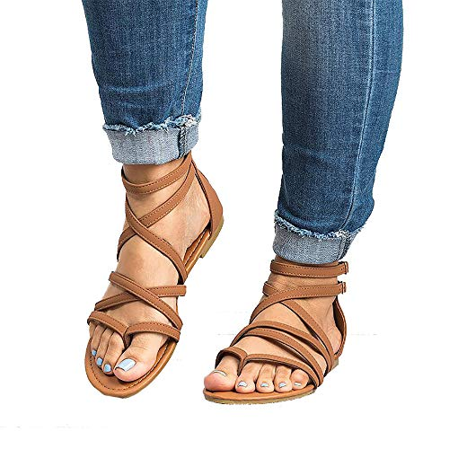 Xiakolaka Womens Flat Sandals,Ankle Strap Gladiator Thong Shoes Brown 36