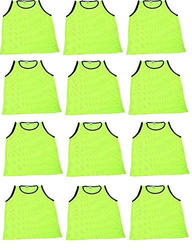 12 Pack Adult YELLOW Scrimmage Vests by World Sport