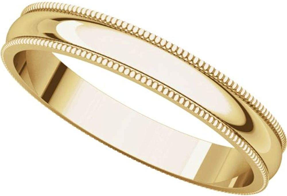 Bonyak Jewelry 14k Yellow Gold 3 mm Lightweight Milgrain Band